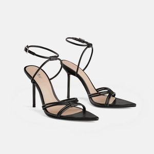 Zara Black High Heeled Pointed Toe Strappy Sandals